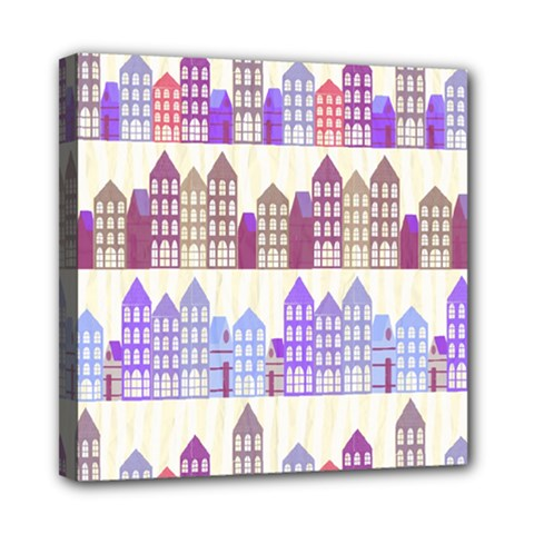 Houses City Pattern Mini Canvas 8  X 8
