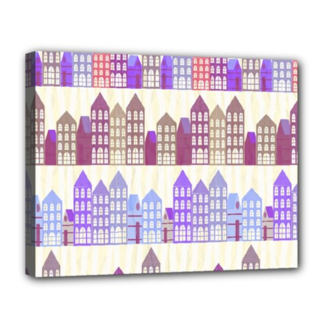 Houses City Pattern Canvas 14  X 11