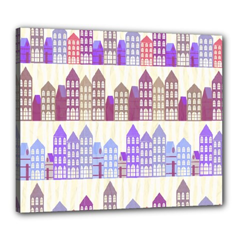 Houses City Pattern Canvas 24  x 20