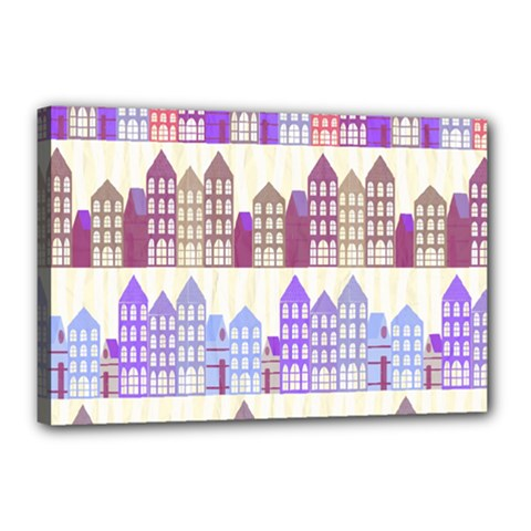 Houses City Pattern Canvas 18  x 12