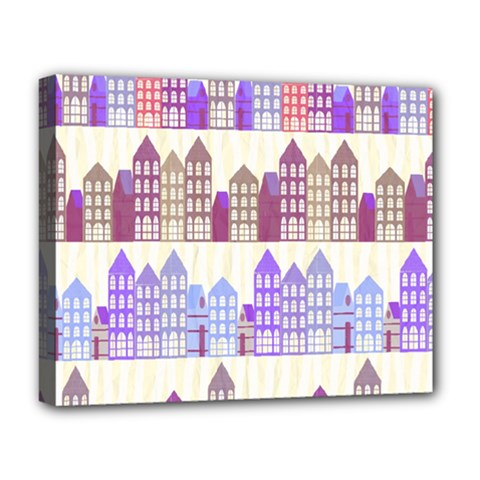 Houses City Pattern Deluxe Canvas 20  x 16