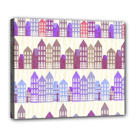 Houses City Pattern Deluxe Canvas 24  X 20