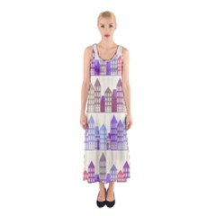 Houses City Pattern Sleeveless Maxi Dress