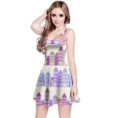 Houses City Pattern Reversible Sleeveless Dress