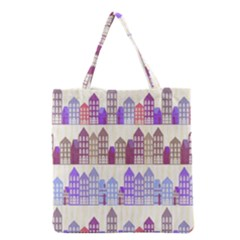 Houses City Pattern Grocery Tote Bag