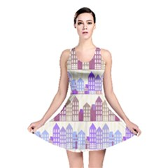 Houses City Pattern Reversible Skater Dress