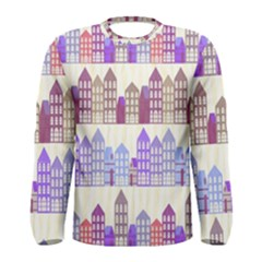 Houses City Pattern Men s Long Sleeve Tee