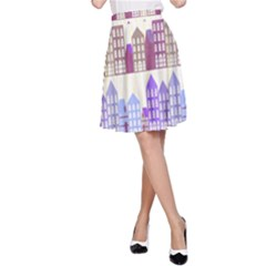 Houses City Pattern A Line Skirt