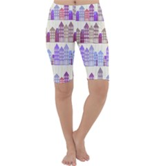 Houses City Pattern Cropped Leggings