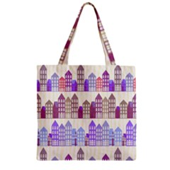 Houses City Pattern Zipper Grocery Tote Bag