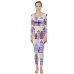 Houses City Pattern Long Sleeve Catsuit