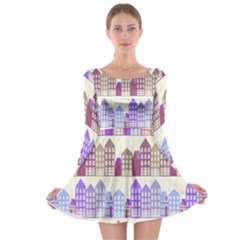 Houses City Pattern Long Sleeve Skater Dress