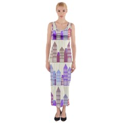 Houses City Pattern Fitted Maxi Dress