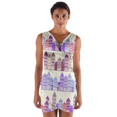 Houses City Pattern Wrap Front Bodycon Dress