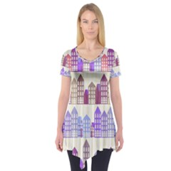 Houses City Pattern Short Sleeve Tunic