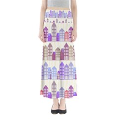 Houses City Pattern Maxi Skirts