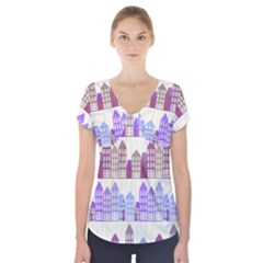 Houses City Pattern Short Sleeve Front Detail Top