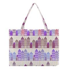 Houses City Pattern Medium Tote Bag