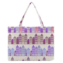 Houses City Pattern Medium Zipper Tote Bag