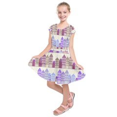 Houses City Pattern Kids  Short Sleeve Dress