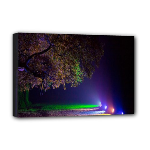 Illuminated Trees At Night Deluxe Canvas 18  x 12