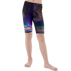 Illuminated Trees At Night Kids  Mid Length Swim Shorts