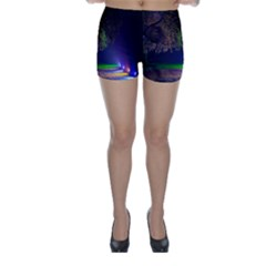 Illuminated Trees At Night Skinny Shorts