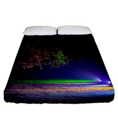 Illuminated Trees At Night Fitted Sheet (king Size)