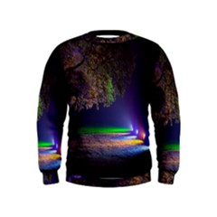Illuminated Trees At Night Kids  Sweatshirt
