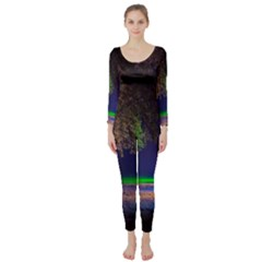 Illuminated Trees At Night Long Sleeve Catsuit
