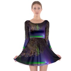 Illuminated Trees At Night Long Sleeve Skater Dress