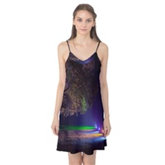 Illuminated Trees At Night Camis Nightgown