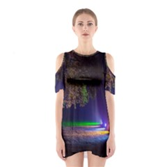 Illuminated Trees At Night Shoulder Cutout One Piece