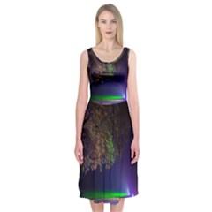 Illuminated Trees At Night Midi Sleeveless Dress