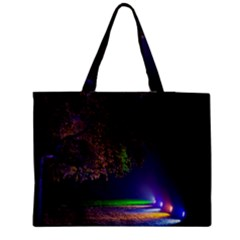 Illuminated Trees At Night Medium Zipper Tote Bag