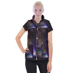 Illuminated Trees At Night Women s Button Up Puffer Vest