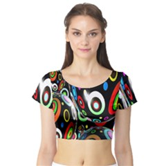 Background Balls Circles Short Sleeve Crop Top (tight Fit)