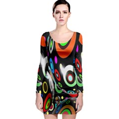 Background Balls Circles Long Sleeve Bodycon Dress