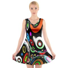 Background Balls Circles V Neck Sleeveless Skater Dress