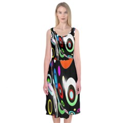 Background Balls Circles Midi Sleeveless Dress
