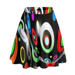 Background Balls Circles High Waist Skirt