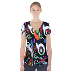 Background Balls Circles Short Sleeve Front Detail Top