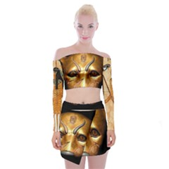 Kellytvgear  Cat Off Da Shoulder Top W/ Skirt Set Off Shoulder Top With Skirt Set