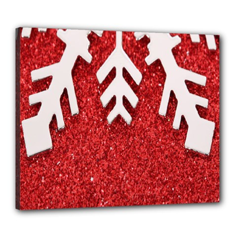Macro Photo Of Snowflake On Red Glittery Paper Canvas 24  x 20