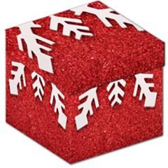 Macro Photo Of Snowflake On Red Glittery Paper Storage Stool 12