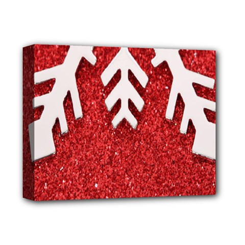 Macro Photo Of Snowflake On Red Glittery Paper Deluxe Canvas 14  x 11