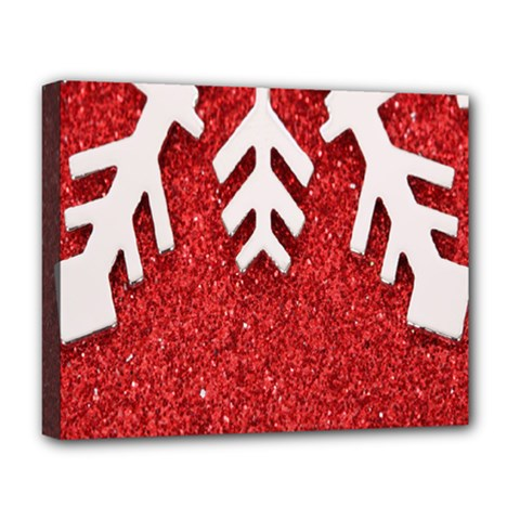 Macro Photo Of Snowflake On Red Glittery Paper Deluxe Canvas 20  x 16