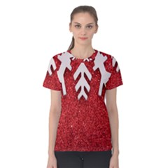 Macro Photo Of Snowflake On Red Glittery Paper Women s Cotton Tee