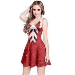 Macro Photo Of Snowflake On Red Glittery Paper Reversible Sleeveless Dress