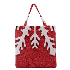 Macro Photo Of Snowflake On Red Glittery Paper Grocery Tote Bag